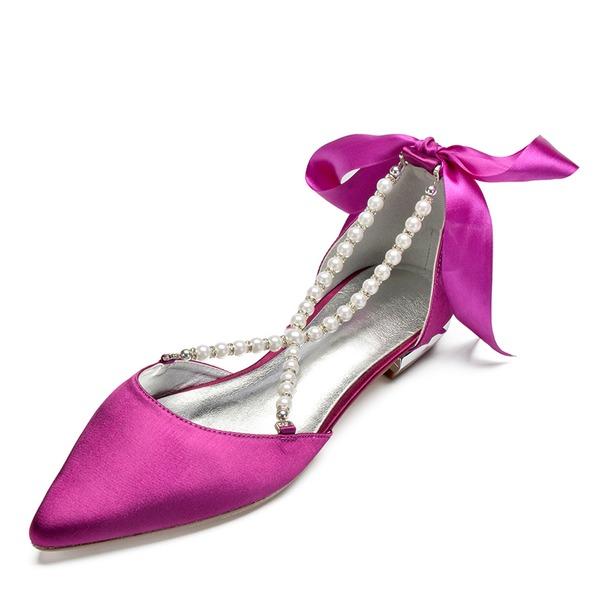 Women's Satin Flat Heel Closed Toe Flats Sandals With Pearl