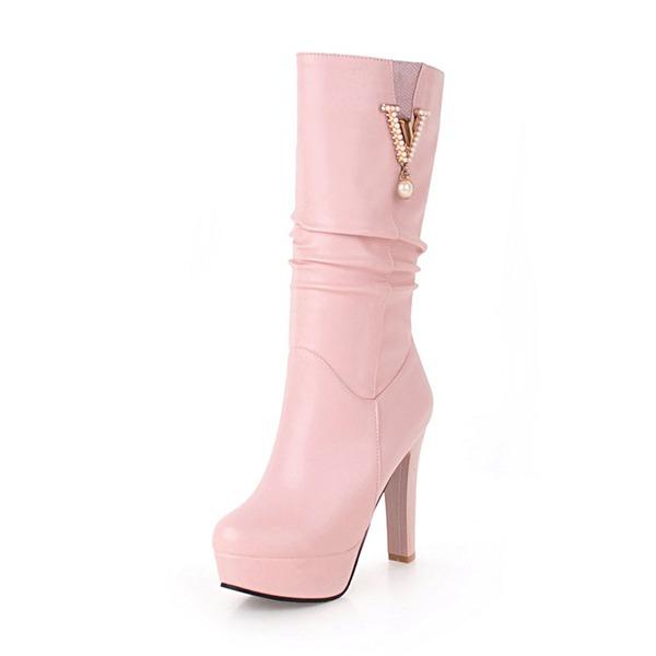 Femmes Similicuir Talon stiletto Escarpins Bottes avec Brodé chaussures
