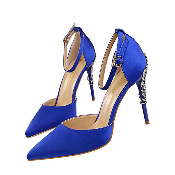 Женщины Атлас Высокий тонкий каблук На каблуках Закрытый мыс с Каблуки с украшением обувь