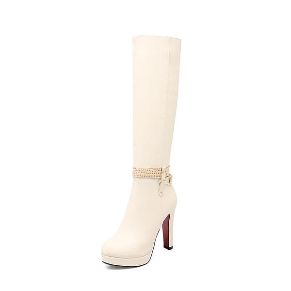 Frauen PU Stämmiger Absatz Absatzschuhe Plateauschuh Stiefel Kniehocher Stiefel mit Reißverschluss Andere Schuhe
