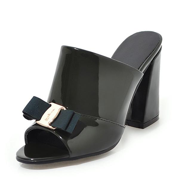 Kadın Rugan Kalın Topuk Sandalet Pompalar Peep Toe Arkası açık iskarpin Ile İlmek ayakkabı