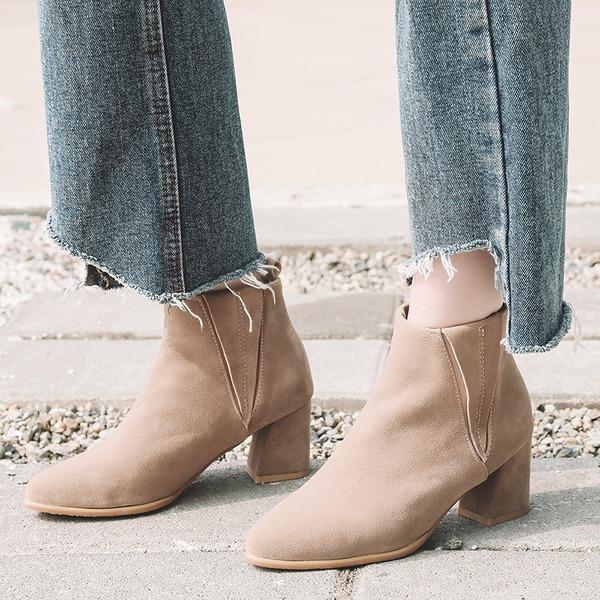 Mulheres Camurça Salto robusto Bombas Botas Bota no tornozelo com Faixa Elástica sapatos