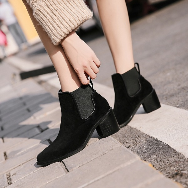 Women's Suede Chunky Heel Ankle Boots With Elastic Band shoes