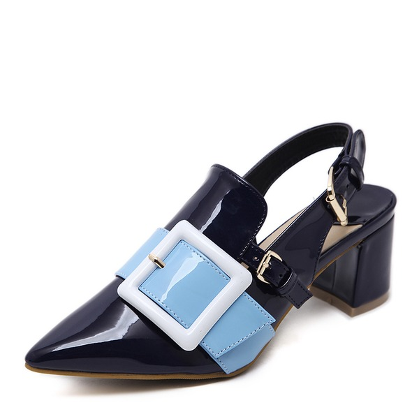 Women's PU Chunky Heel Pumps Closed Toe Slingbacks With Buckle shoes