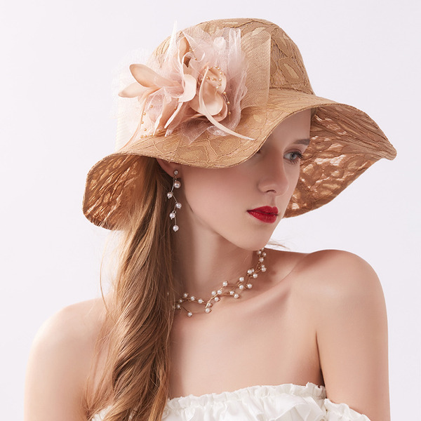 Ladies ' Classic/Fancy Blonder med Blomst Strand / Sun Hatte/Kentucky Derby Hatte/Tea Party Hats