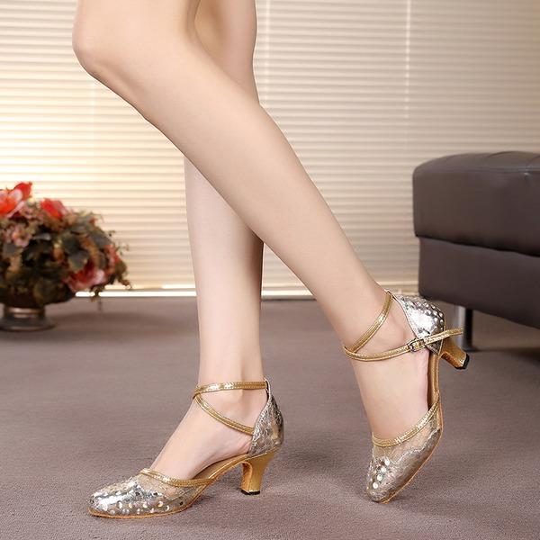 Femmes Pailletes scintillantes Talons Sandales Salle de bal avec Lanière de cheville Chaussures de danse