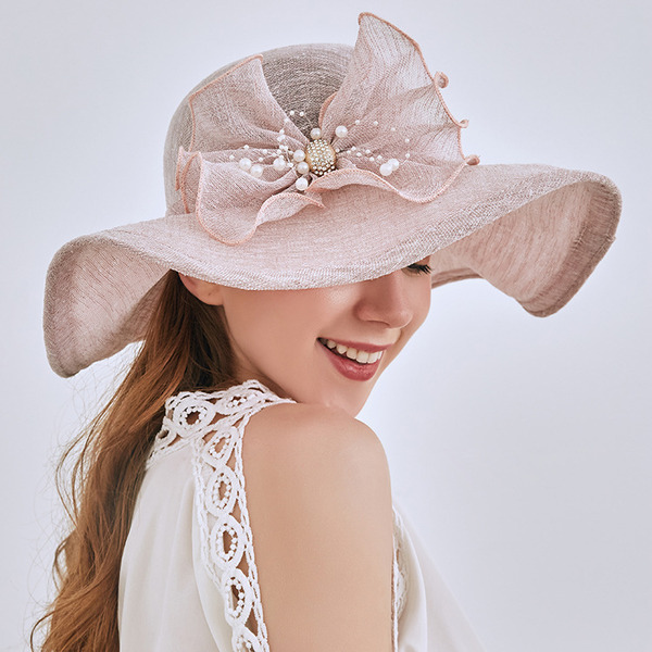 Ladies' Elegant/Simple Linen With Imitation Pearls Beach/Sun Hats/Tea Party Hats