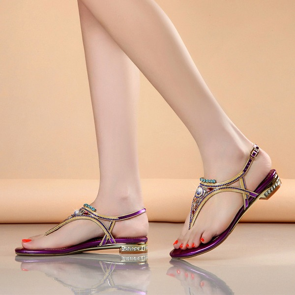 Women's Sparkling Glitter Flat Heel Peep Toe Sandals Slingbacks With Crystal