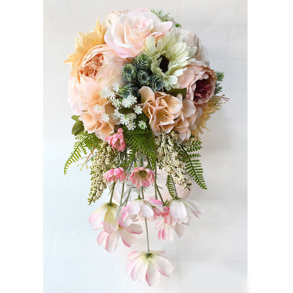 Gorgeous Cascade Silk Flower Bridal Bouquets (Sold in a single piece) -