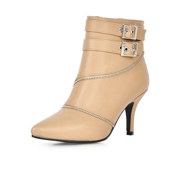Frauen Kunstleder Stöckel Absatz Absatzschuhe Geschlossene Zehe Stiefel Stiefelette Schuhe