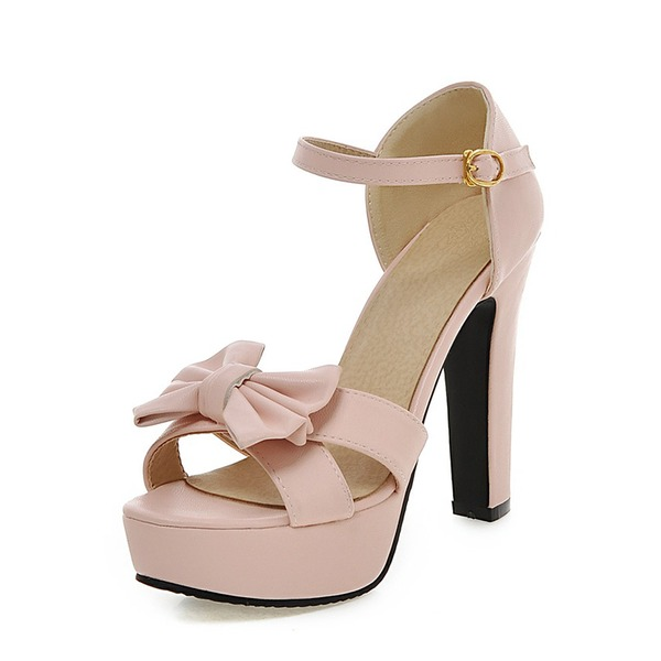 Kadın Suni deri Kalın Topuk Pompalar Platform Ile İlmek ayakkabı