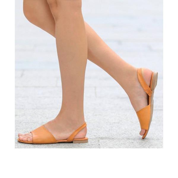 Women's PU Flat Heel Sandals Flats Peep Toe Slingbacks With Others shoes
