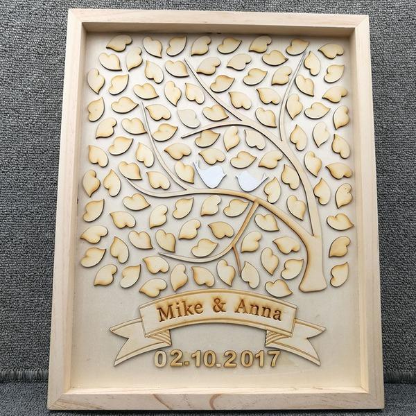 Drop srdce Dřevo Kniha hostů