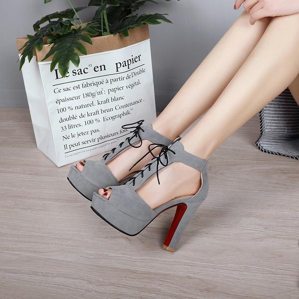 Vrouwen Suede Chunky Heel Pumps Plateau Peep Toe met Vastrijgen schoenen