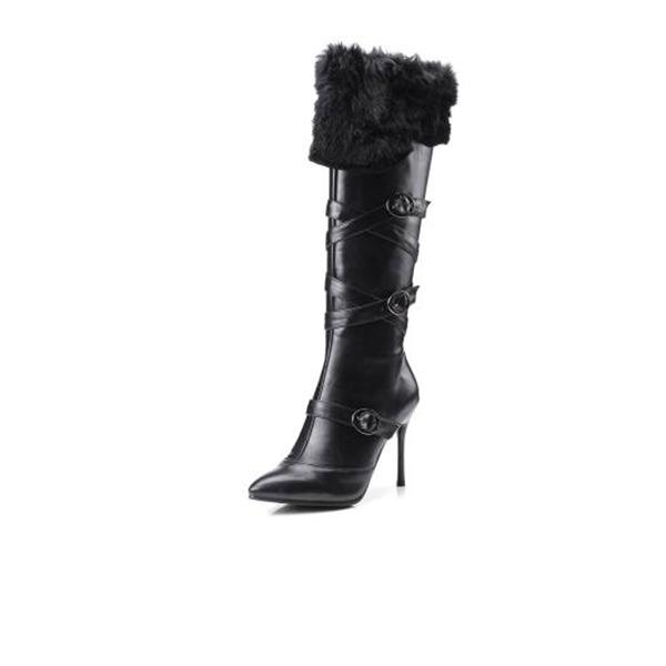 Mulheres PU Salto agulha Bombas Bota no joelho com Fivela Zíper Pele sapatos
