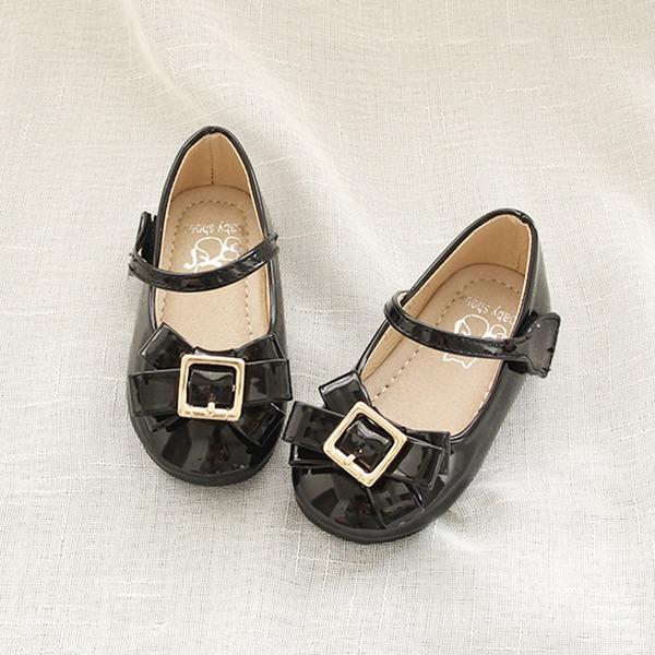 Jentas Leather flat Heel Round Toe Flate sko med Bowknot Velcro