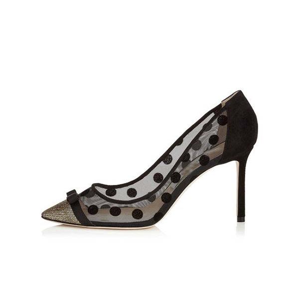 Kvinnor Konstläder Mesh Stilettklack Pumps Stängt Toe med Andra skor