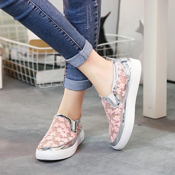 Kadın Dantel Düz Topuk Daireler Ile Dikiş Danteli ayakkabı