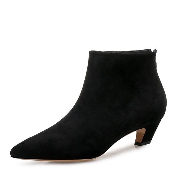 Naisten Mokkanahka Chunky heel Avokkaat Nilkkurit jossa Vetoketju kengät