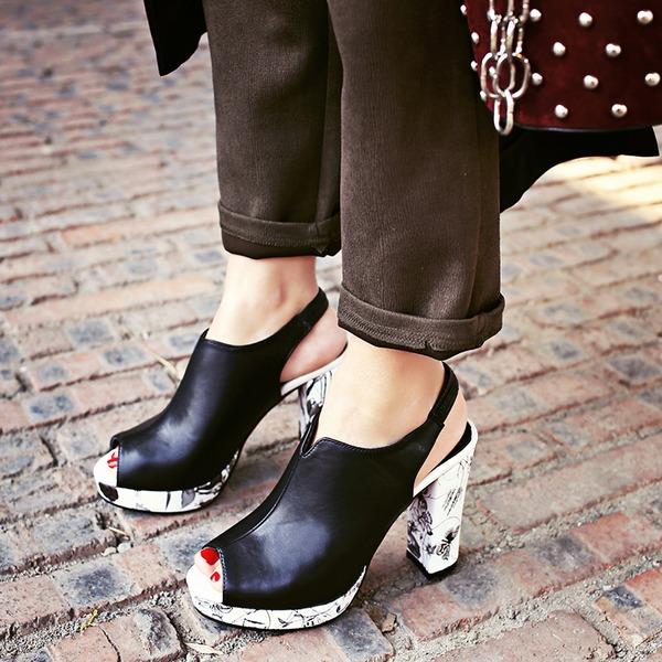 Naisten Keinonahasta Chunky heel Sandaalit Avokkaat Platform Peep toe jossa Korut Heel kengät