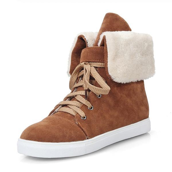 Mulheres Camurça Sem salto Fechados Botas Botas na panturrilha Botas de neve Martin botas com Aplicação de renda sapatos