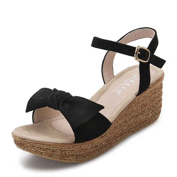 Frauen Veloursleder Keil Absatz Geschlossene Zehe Stiefel Schuhe