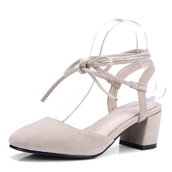 Mulheres Camurça Salto agulha Sandálias Bombas com Aplicação de renda sapatos