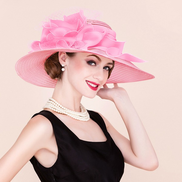 Damer' Klassisk stil/Elegant/Unik Papyrus/Tyll Diskett Hat/Kentucky Derby Hattar/Tea Party Hattar