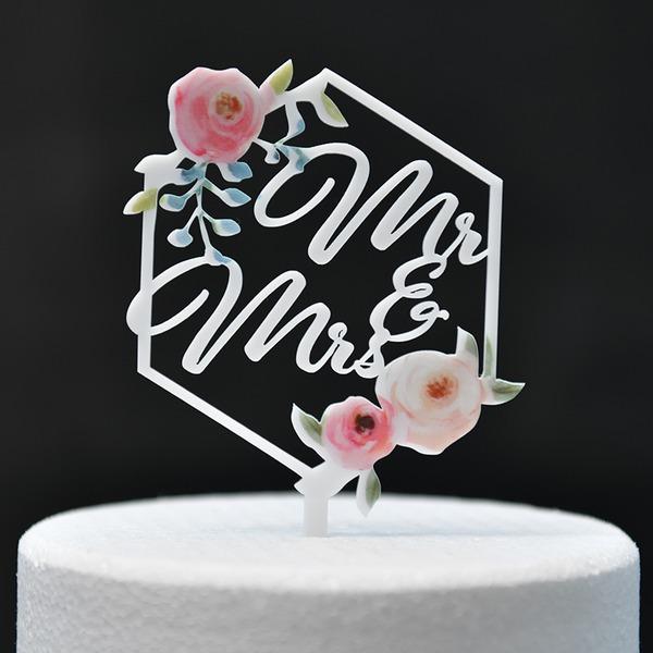 Style Classique/Mr & Mrs/Une fleur Acrylique Décoration pour gâteaux (Vendu dans une seule pièce)