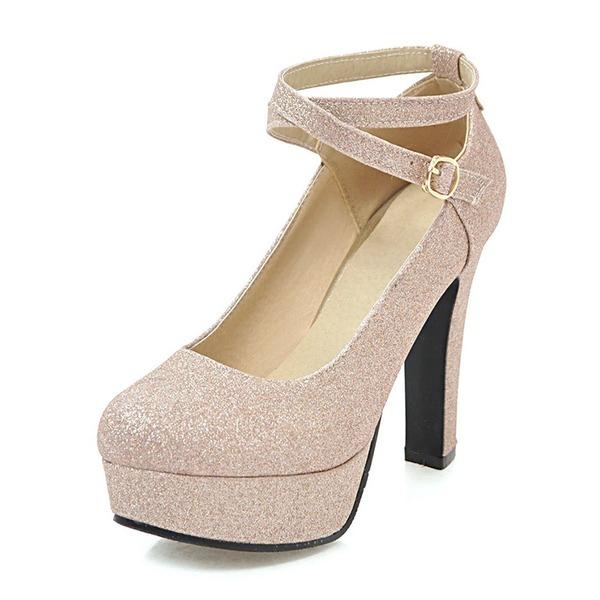 Naisten PU Chunky heel Avokkaat Platform jossa Paljetti kengät