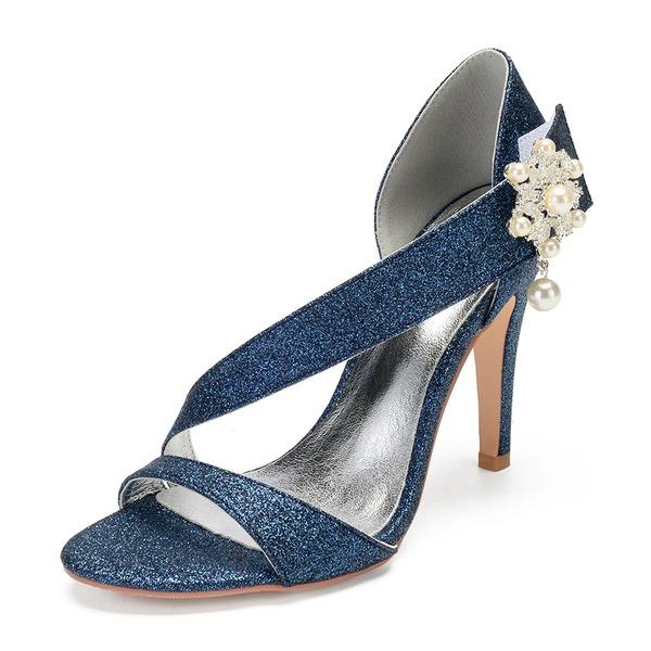 Frauen Funkelnde Glitzer Stöckel Absatz Peep-Toe Absatzschuhe Sandalen mit Nachahmungen von Perlen Strass Pailletten Funkelnde Glitzer Perle Klettverschluss