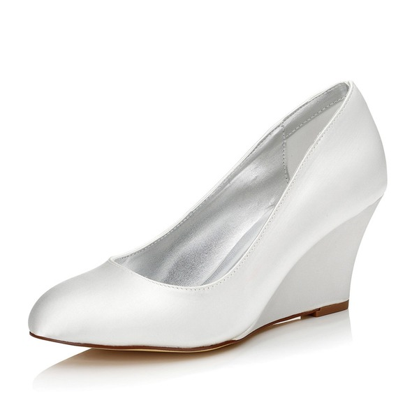 Kadın Saten Dolgu Topuk Kapalı Toe Boyanabilir ayakkabılar