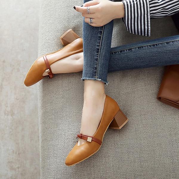 Frauen PU Stämmiger Absatz Absatzschuhe Geschlossene Zehe mit Bowknot Schuhe