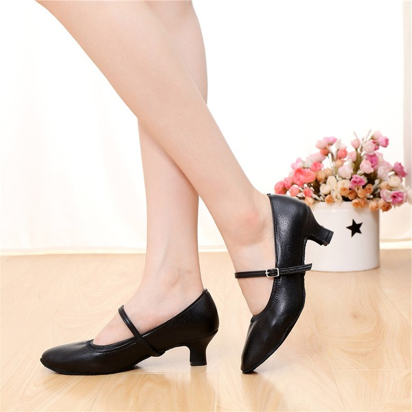 Women's Real Leather Pumps Character Shoes With Buckle Dance Shoes
