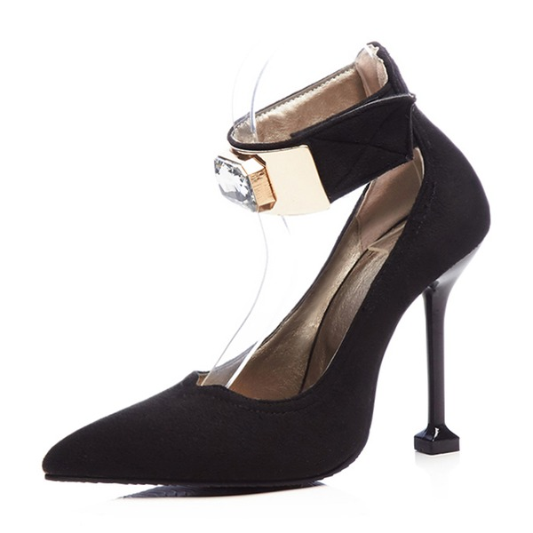Women's Suede Stiletto Heel Pumps Closed Toe Mary Jane With Rhinestone Velcro shoes