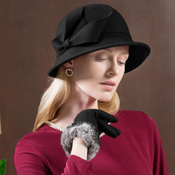 Ladies' Special/Glamourous/Simple/Exquisite/High Quality/Romantic/Vintage/Artistic Wool With Imitation Butterfly Floppy Hat