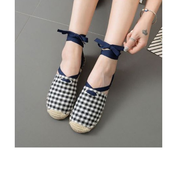 Women's Fabric Flat Heel Flats Closed Toe With Lace-up shoes