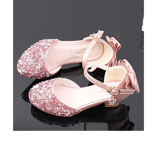 Flicka rund tå sparkling blänker Flower Girl Shoes med Bowknot Kristall Pärla