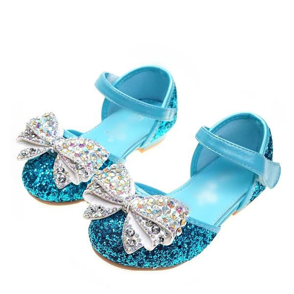 Flicka rund tå Stängt Toe sparkling blänker platt Heel Platta Skor / Fritidsskor Flower Girl Shoes med Bowknot Kardborre Kristall