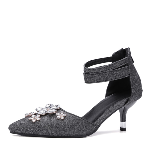 Women's Sparkling Glitter Spool Heel Sandals Pumps With Rhinestone Zipper shoes