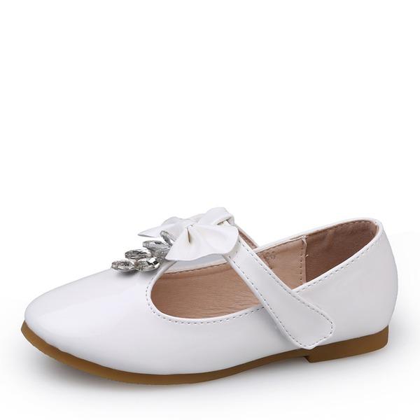 Jentas Round Toe Lukket Tå Patent lær flat Heel Flate sko Flower Girl Shoes med Bowknot Velcro Crystal