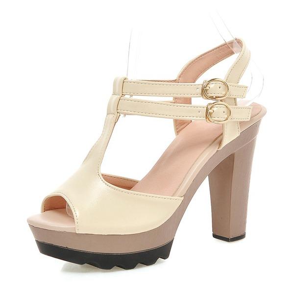 Vrouwen Kunstleer Stiletto Heel Sandalen Pumps Plateau Peep Toe Slingbacks met Gesp schoenen