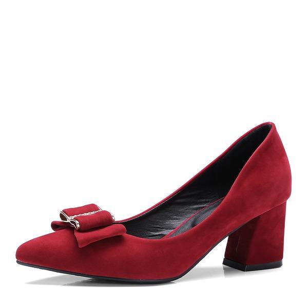 Donna Camoscio Tacco spesso Stiletto Punta chiusa con Bowknot scarpe