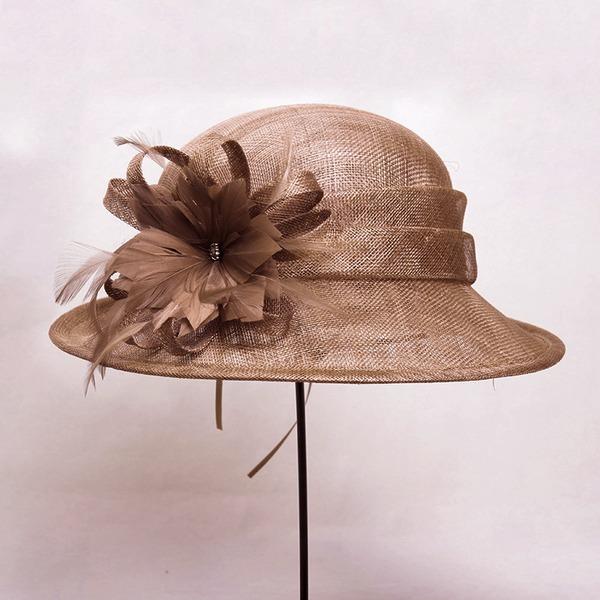 Señoras' Hermoso/Precioso/Glamorosa poliéster con Pluma Bombín / cloché Sombrero