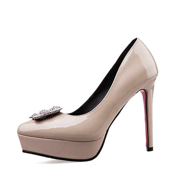 Women's Patent Leather Stiletto Heel Closed Toe Platform Pumps With Buckle Rhinestone Others