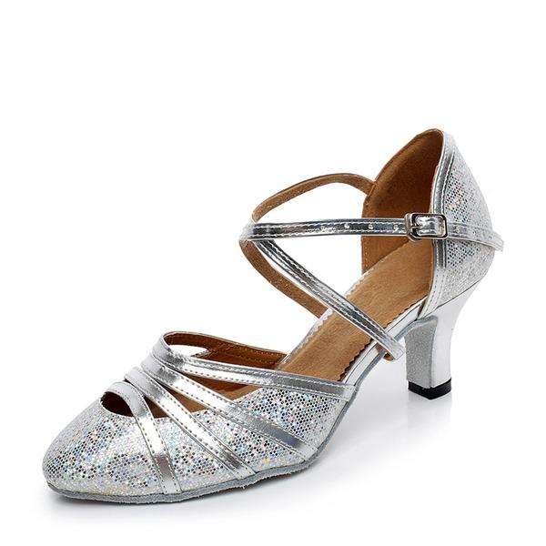 Vrouwen Sprankelende Glitter Hakken Pumps Ballroom met Enkelriempje Dansschoenen