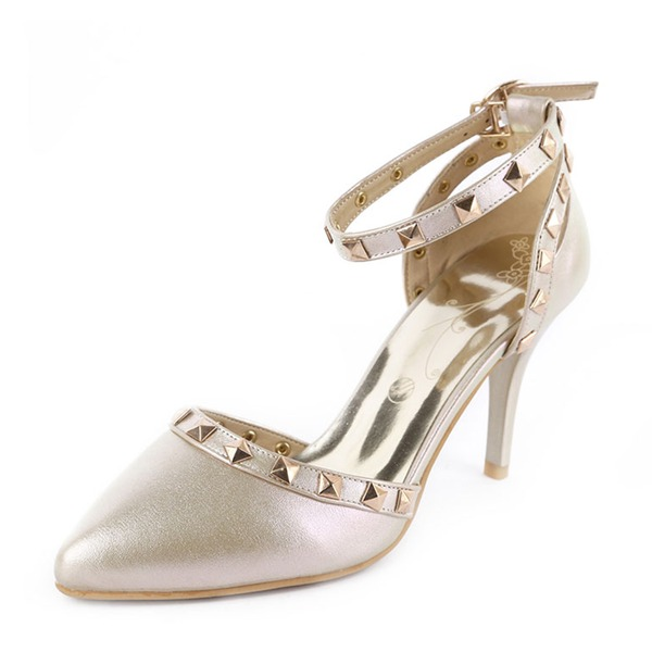 Women's PU Stiletto Heel Sandals Pumps With Rivet shoes