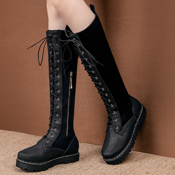 Women's PU Flat Heel Platform Boots Knee High Boots With Lace-up Split Joint shoes