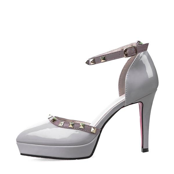Women's Patent Leather Stiletto Heel Sandals Pumps Platform Closed Toe With Buckle shoes