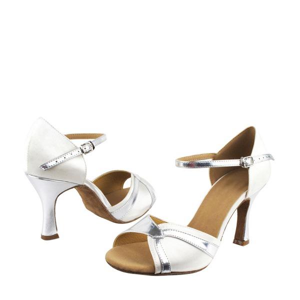 Women's Satin Leatherette Heels Sandals Latin Dance Shoes